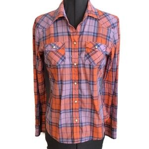 AEO Western Shirt S Pearl Snaps Plaid Cowgirl L/S